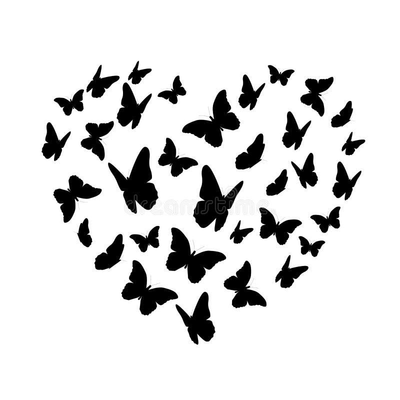 Kontur för Beautifil fjärilshjärta som isoleras på vit bakgrund vektor illustrationer
