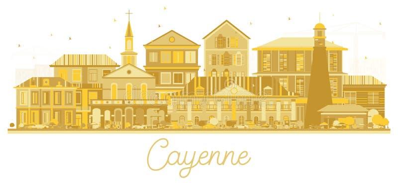 Kontur för Cayenne Franska Guyana stadshorisont med guld- byggnader som isoleras på vit royaltyfri illustrationer