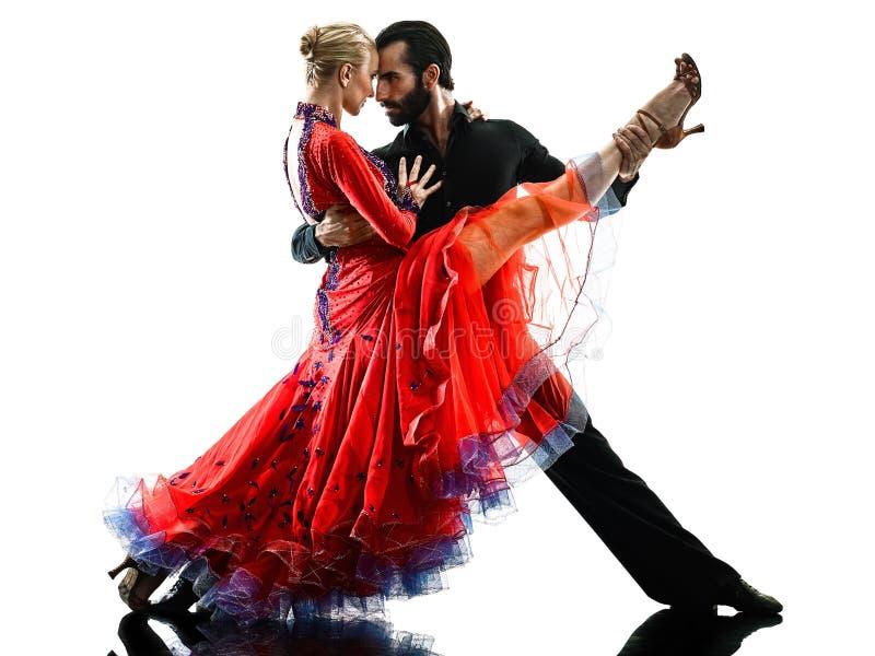 Kontur för dans för dansare för salsa för tango för balsal för mankvinnapar arkivbilder