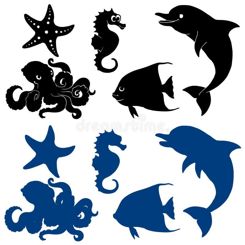 Kontur för fem marin- djur på vit stock illustrationer