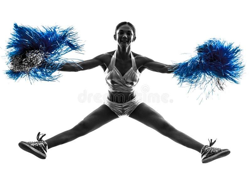 Kontur för hejaklacksledare för ung kvinna cheerleading royaltyfri foto