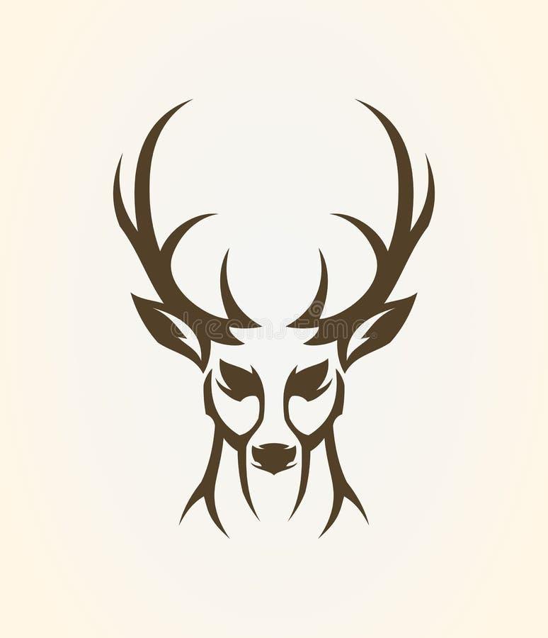 Kontur för hjorthuvudöversikt Stiliserad älgsymbol stock illustrationer