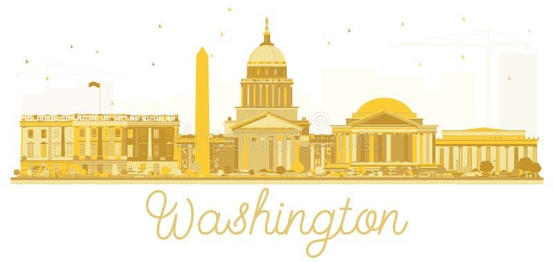 Kontur för horisont för stad för Washington dc USA guld- vektor illustrationer
