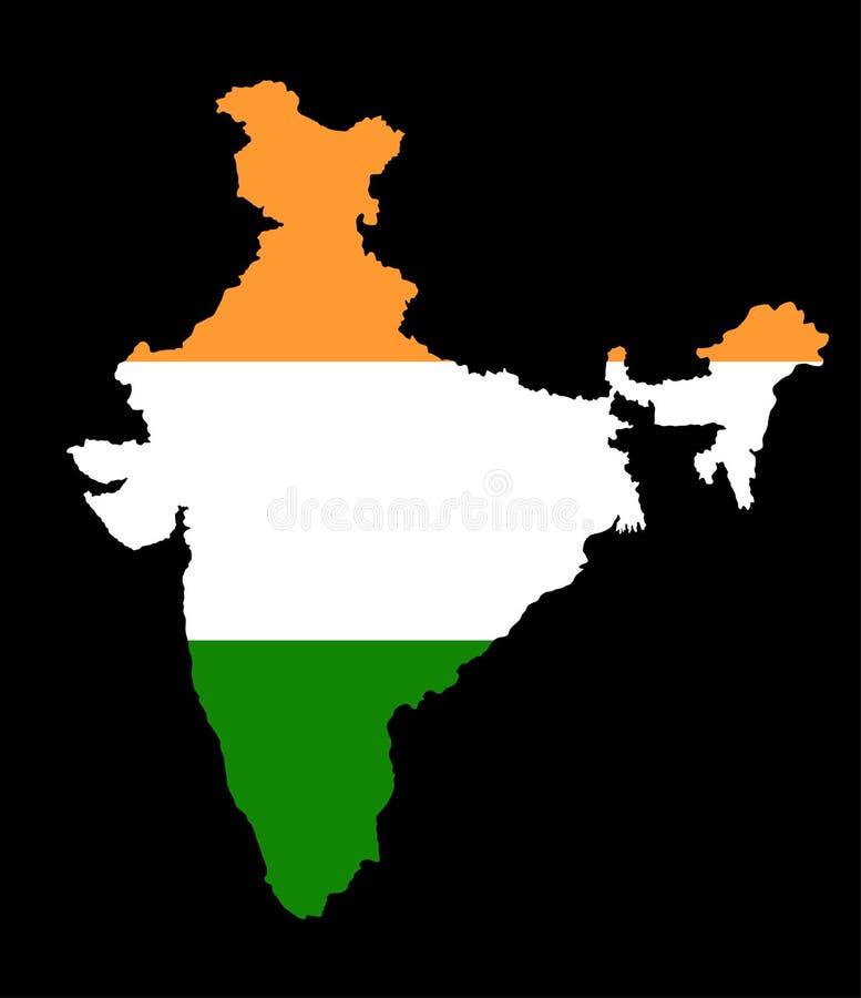 Kontur för Indien vektoröversikt och Indien vektorflagga över översikt vektor illustrationer