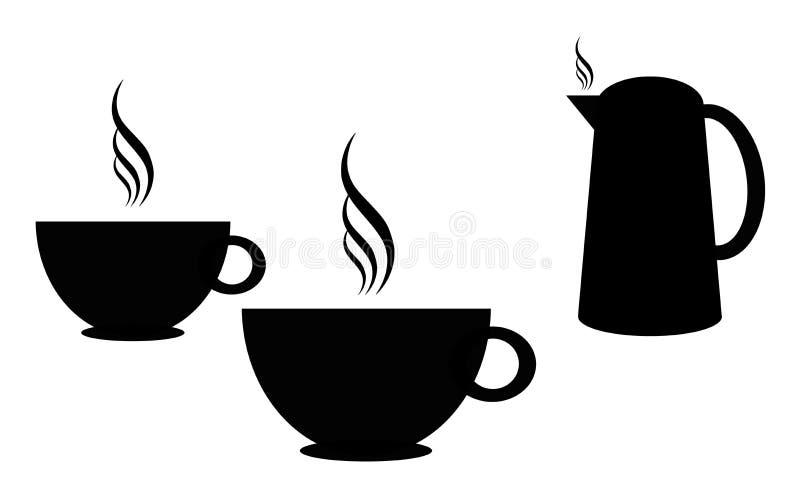 Kontur för kaffekoppar stock illustrationer
