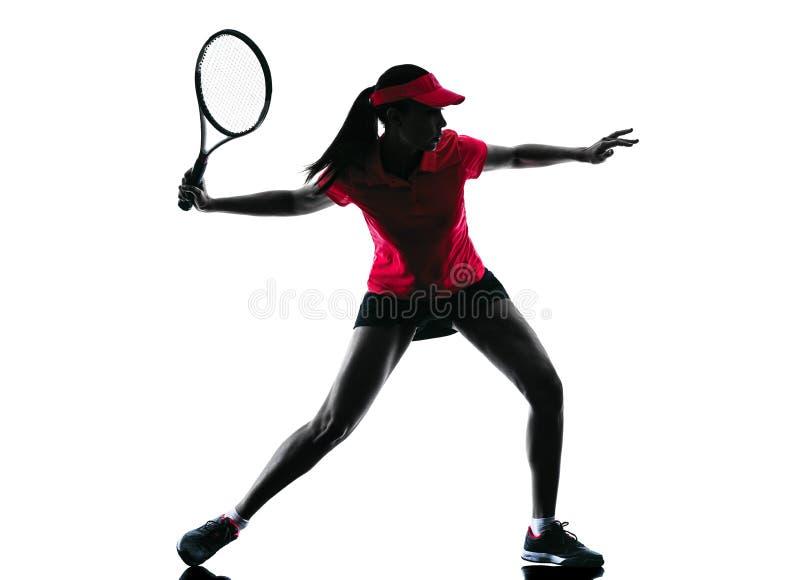 Kontur för kvinnatennisspelaresorgsenhet arkivbild