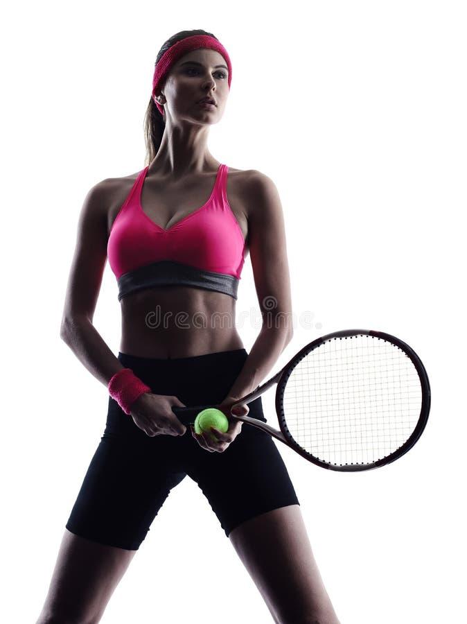 Kontur för kvinnatennisspelarestående royaltyfria foton
