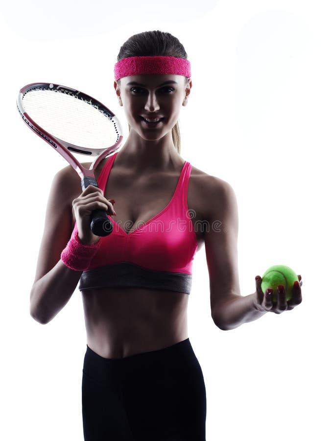 Kontur för kvinnatennisspelarestående royaltyfri foto