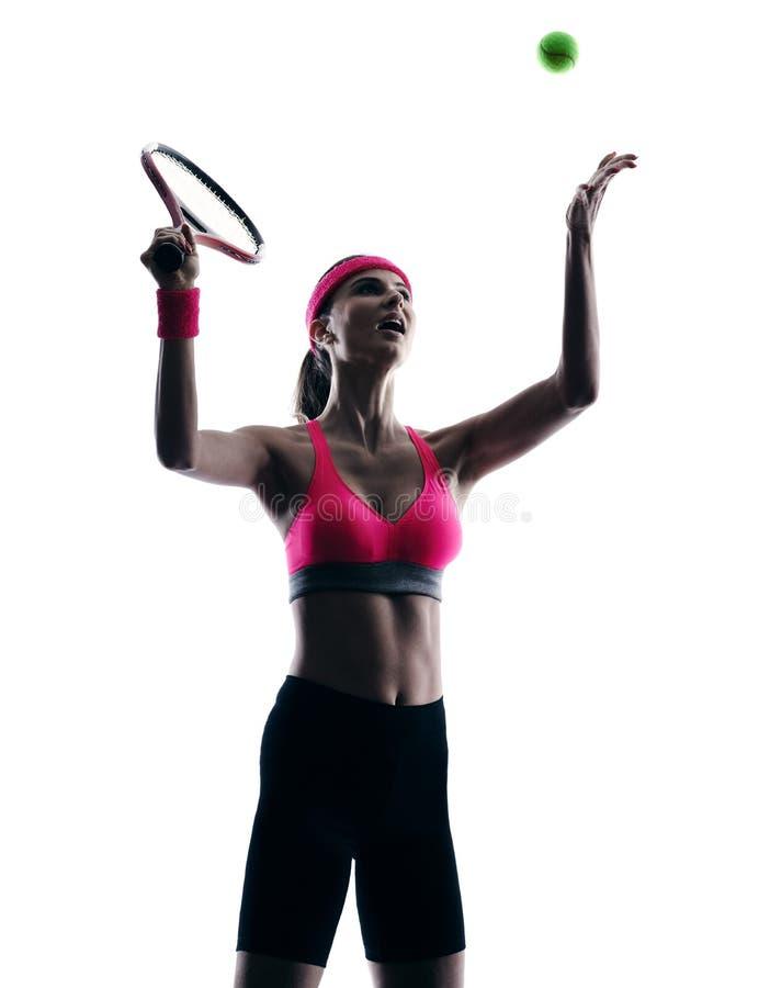 Kontur för kvinnatennisspelarestående royaltyfria bilder