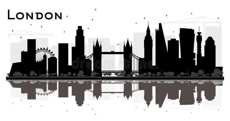 Kontur för London England stadshorisont med svart byggnadsisolator stock illustrationer