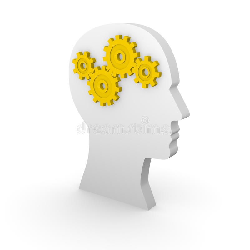 Kontur för mänskligt huvud med gula kugghjul royaltyfri illustrationer