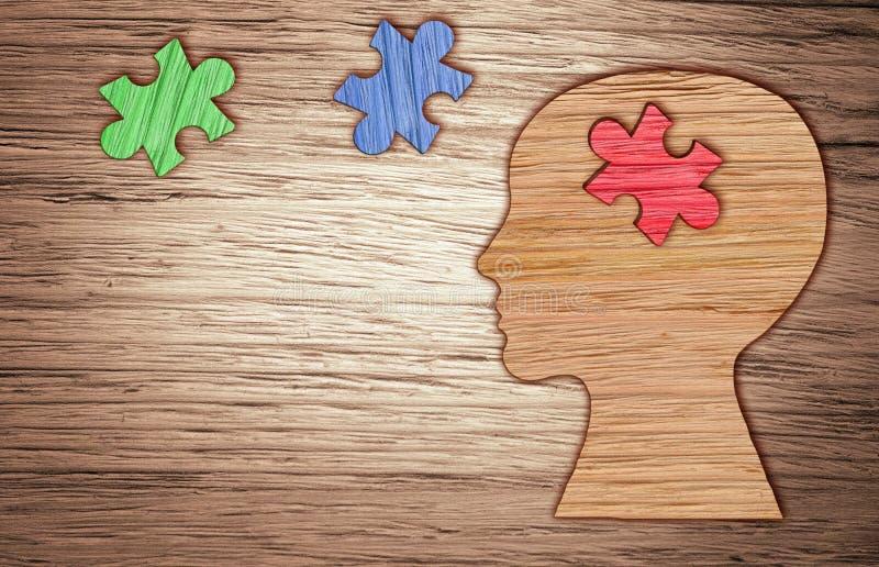 Kontur för mänskligt huvud, mental hälsasymbol Pussel stock illustrationer