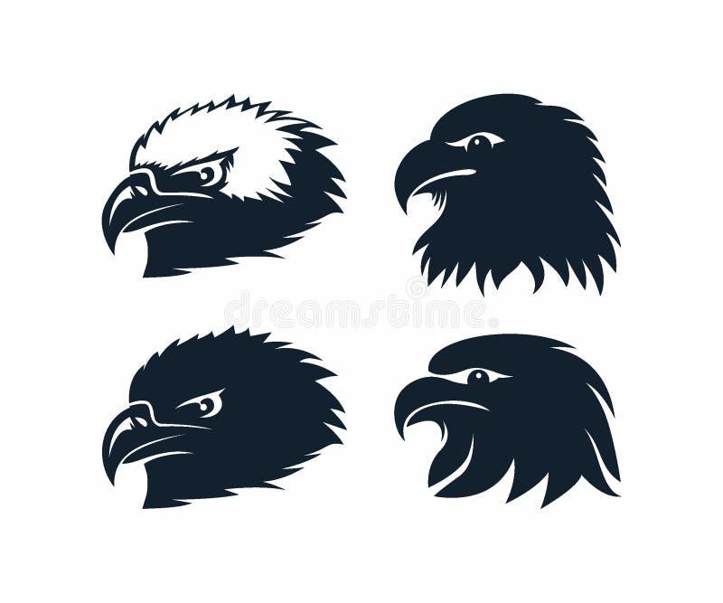 Kontur för mall för Eagle Head logodesign vektor illustrationer