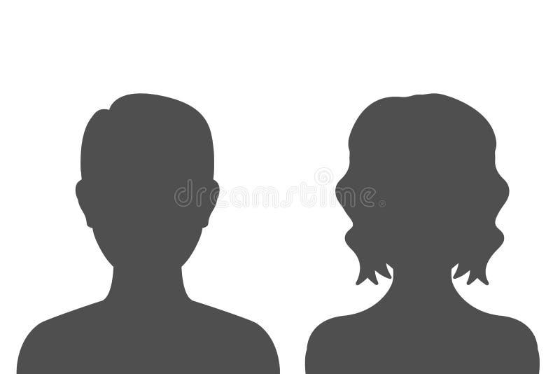 Kontur för man- och kvinnahuvudsymbol – vektor royaltyfri illustrationer