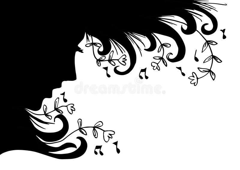Kontur för musikkvinnastående royaltyfri illustrationer
