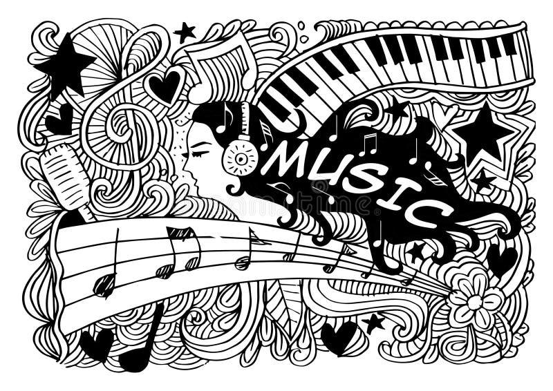 Kontur för musikkvinnastående stock illustrationer