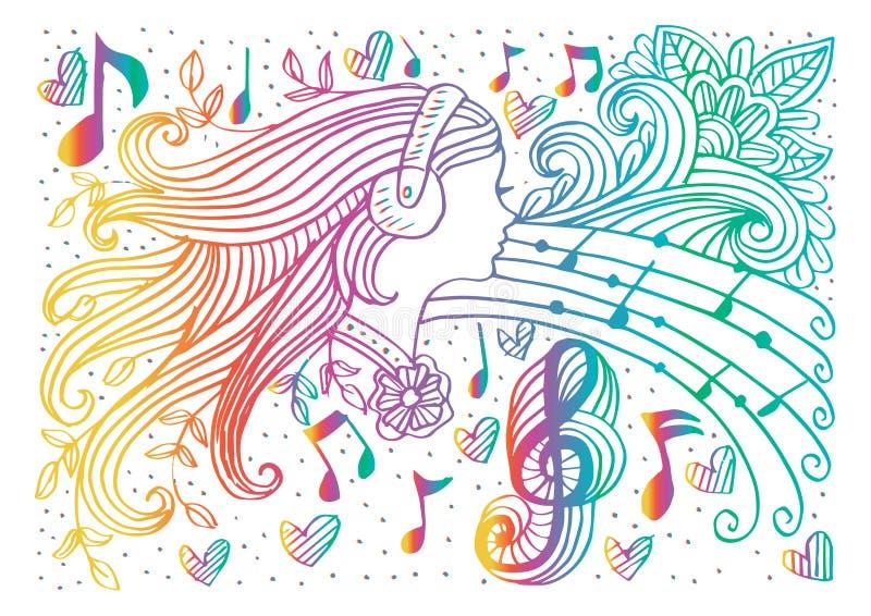 Kontur för musikkvinnastående vektor illustrationer