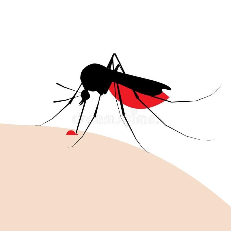Kontur för myggatugga med droppe av blod royaltyfri illustrationer