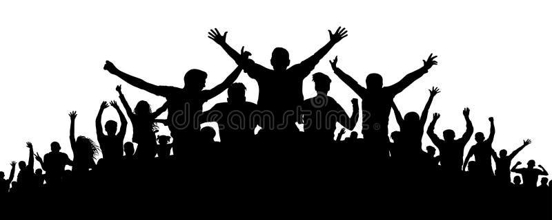 Kontur för partifolkmassafolk stock illustrationer