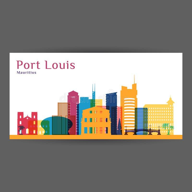 Kontur för Port Louis stadsarkitektur royaltyfri illustrationer