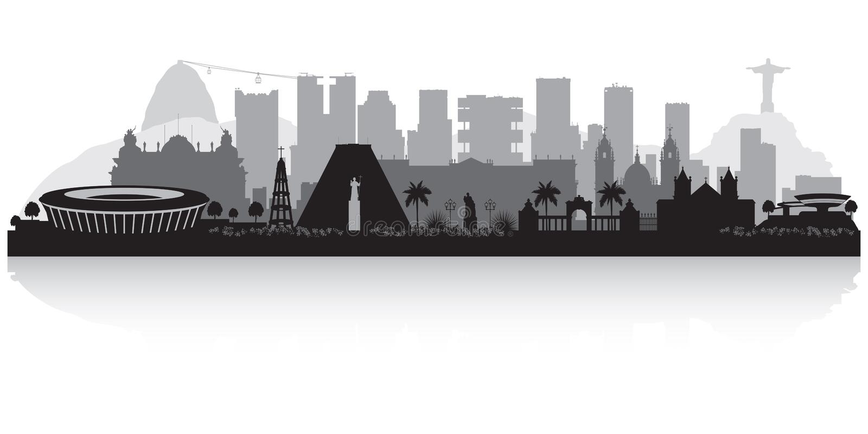 Kontur för Rio de Janeiro Brazil stadshorisont vektor illustrationer
