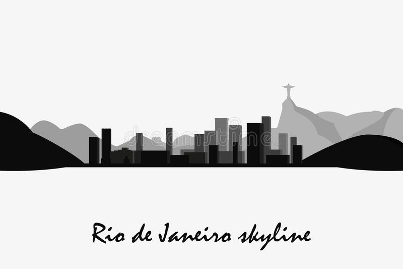 Kontur för Rio de Janeiro horisontvektor Svartvit cityscape vektor illustrationer
