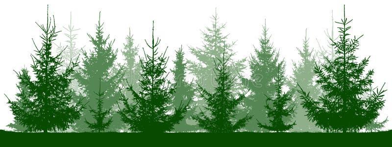 Kontur för skoggranträd jul min version för portföljtreevektor stock illustrationer