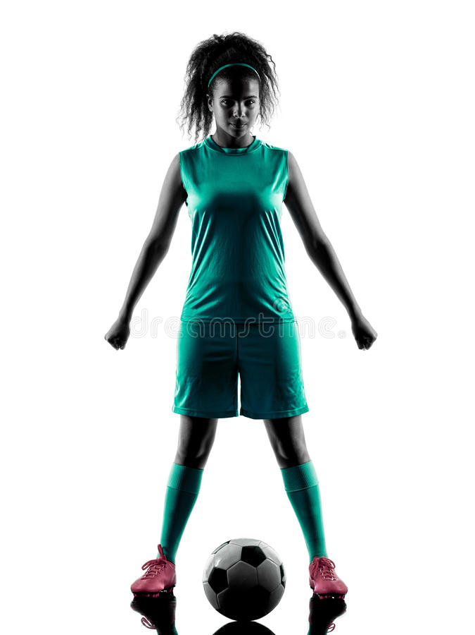Kontur för spelare för fotboll för tonåringflickabarn isolerad fotografering för bildbyråer