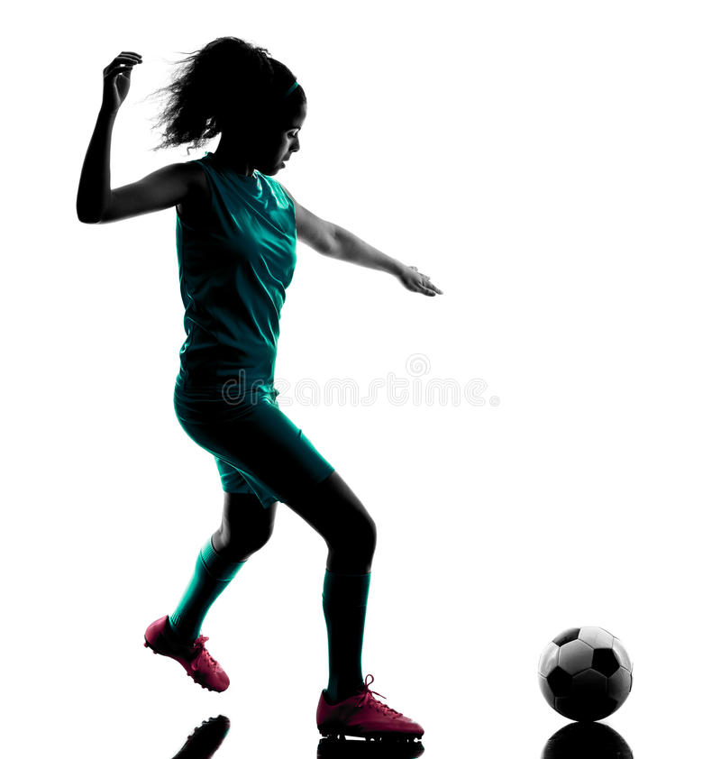Kontur för spelare för tonåringflickafotboll isolerad arkivfoto