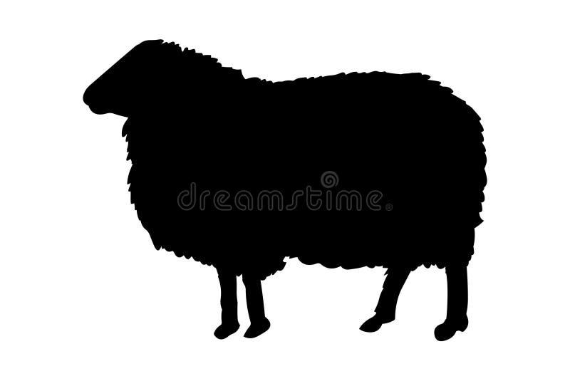 Kontur för svart för fårvektorillustration royaltyfri illustrationer