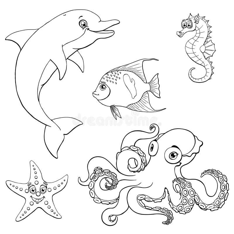 Kontur för svart för marin- djur för uppsättning fem gullig royaltyfri illustrationer