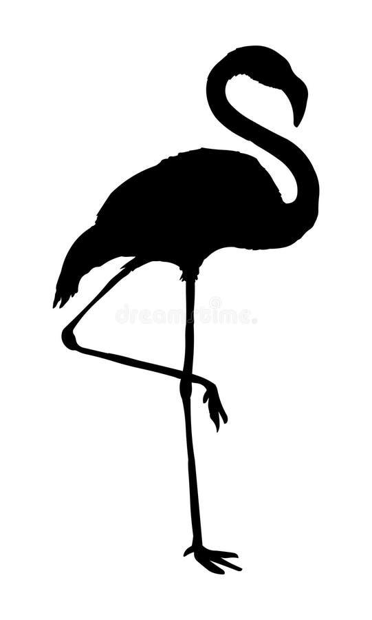 Kontur för svart för flamingovektorillustration royaltyfri illustrationer
