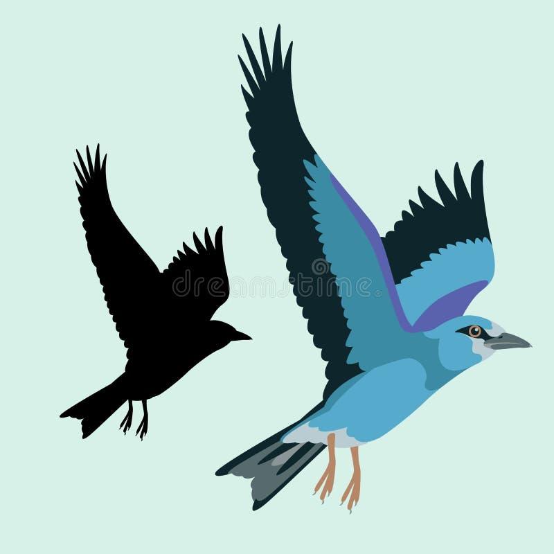 Kontur för svart för stil för lägenhet för illustration för rullfågelvektor vektor illustrationer