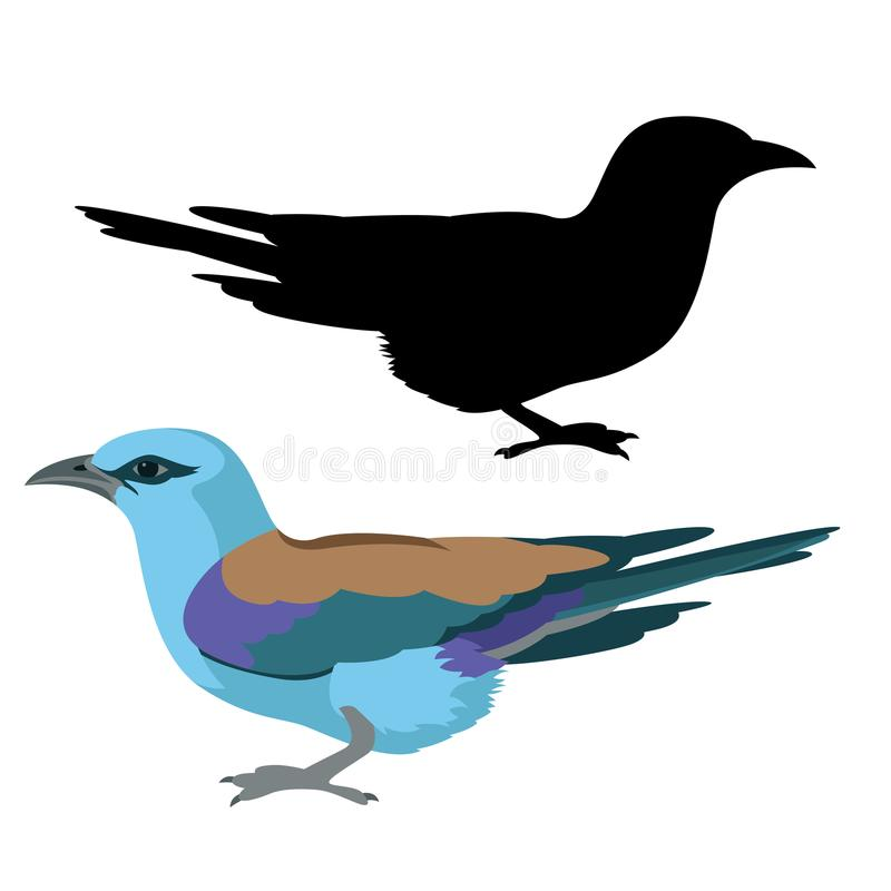 Kontur för svart för stil för lägenhet för illustration för rullfågelvektor stock illustrationer