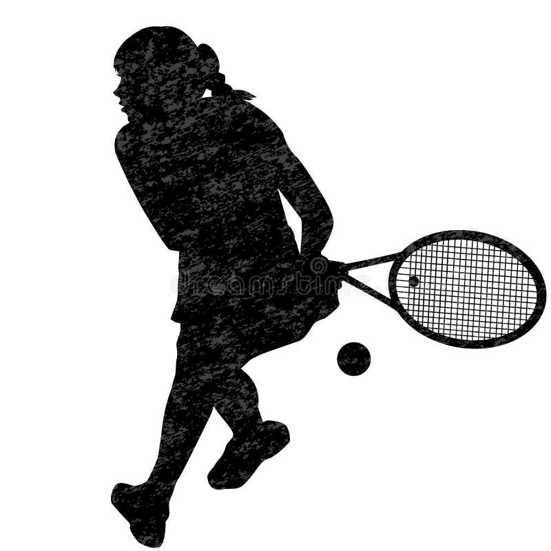 Kontur f?r tenniskvinnaspelare royaltyfri illustrationer