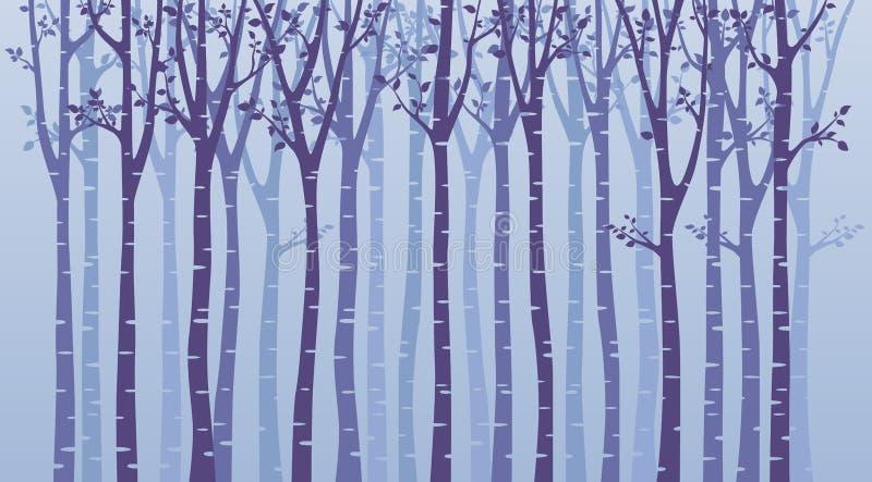 Kontur för trä för björkträd på blå bakgrund stock illustrationer