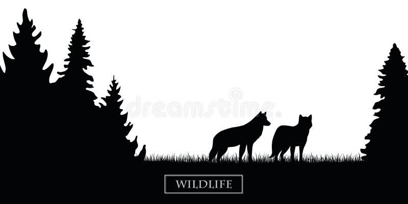 Kontur för två djurlivvarger i skogen på den svartvita ängen stock illustrationer