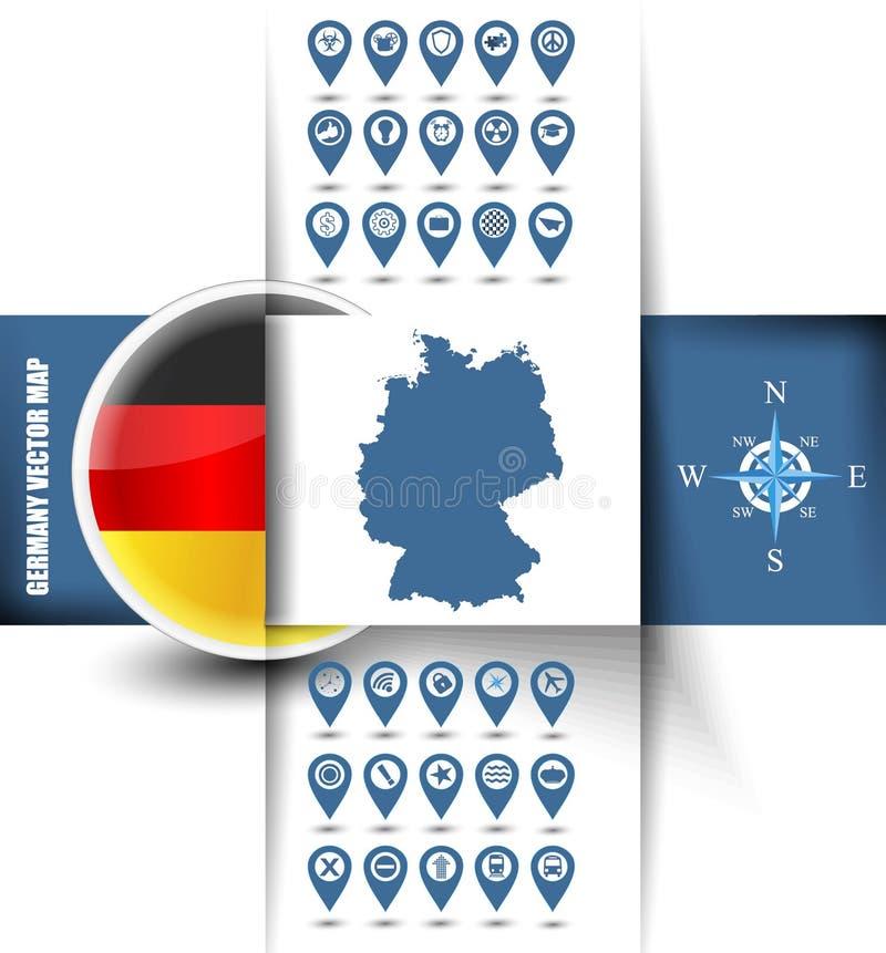 Kontur för Tysklandvektoröversikt med GPS symboler stock illustrationer