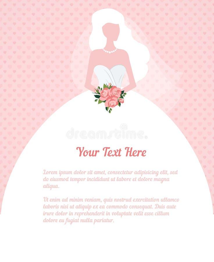 Kontur för ung kvinna för bröllopinbjudan stock illustrationer