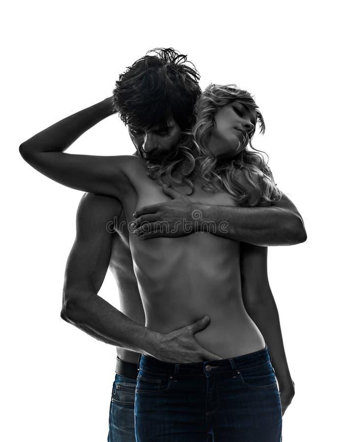 Kontur för vänner för sexiga stilfulla parvänner topless fotografering för bildbyråer