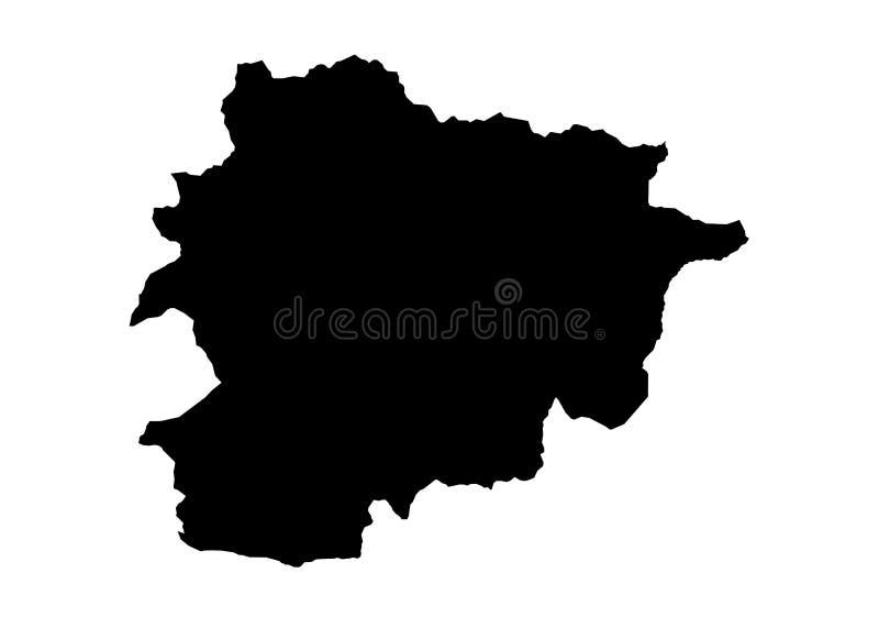 Kontur för vektor för Andorra statöversikt stock illustrationer