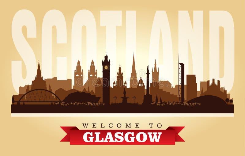 Kontur för vektor för Glasgow Scotland stadshorisont royaltyfri illustrationer