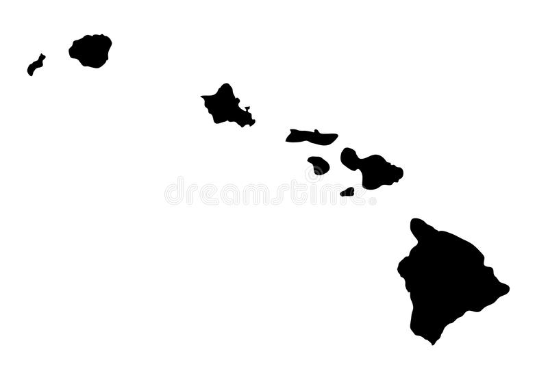 Kontur för vektor för Hawaii statöversikt stock illustrationer