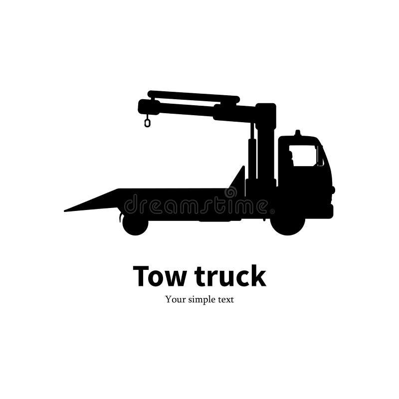 Kontur för vektorillustrationsvart av bärgningsbilen royaltyfri illustrationer