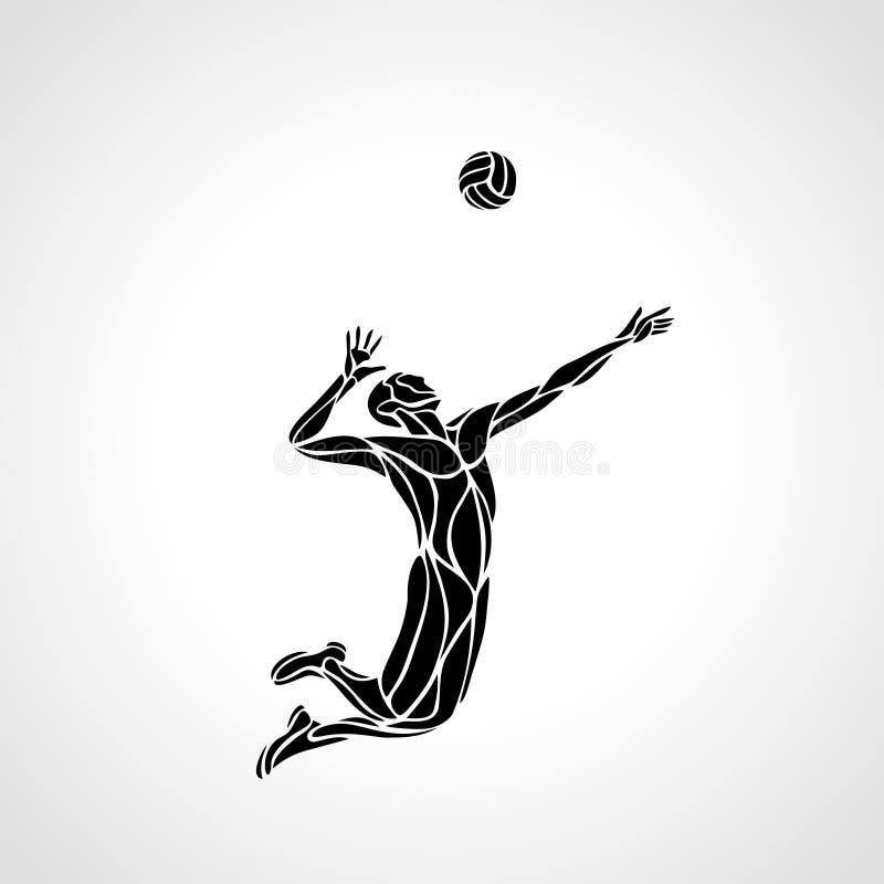 Kontur för volleybollspelare vektor illustrationer
