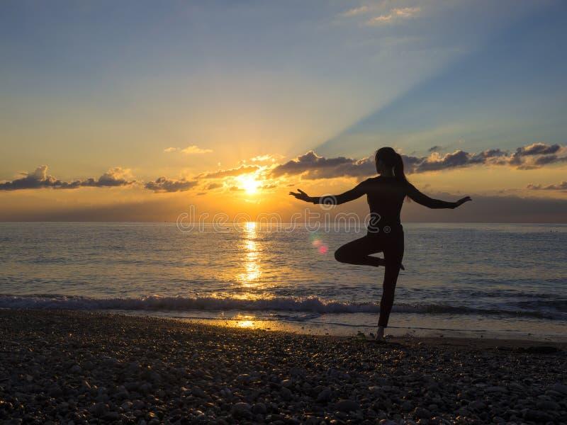Kontur för yogameditationkvinna på havet under fantastisk solnedgång Sund livsstil royaltyfria bilder