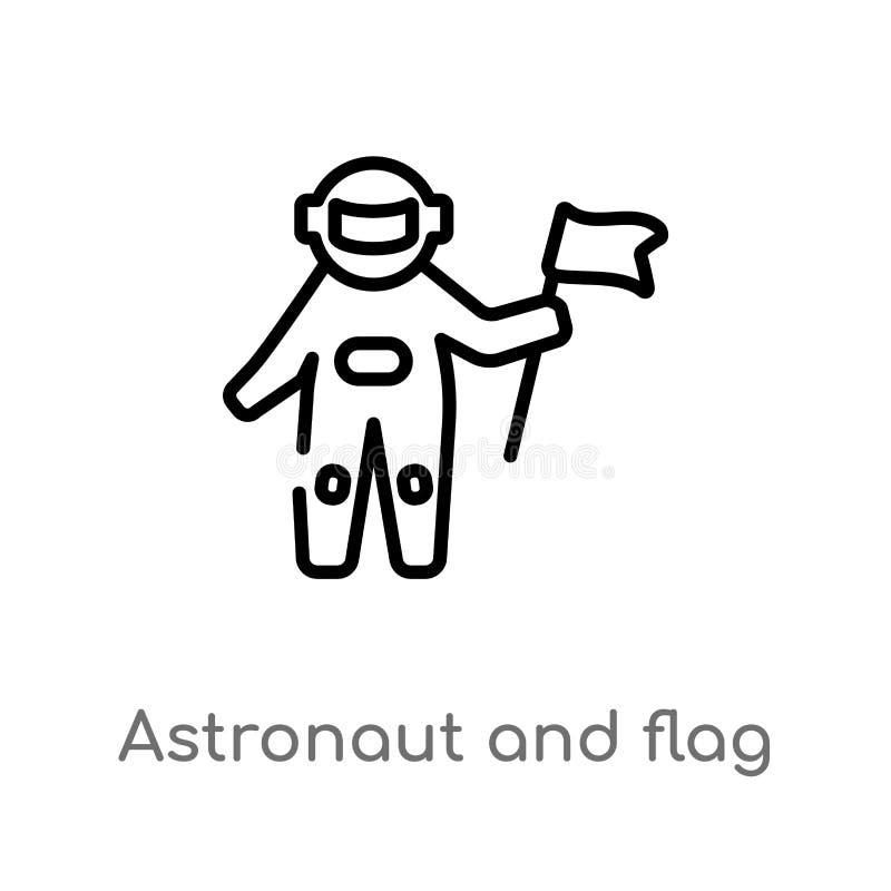 kontur flagi i astronauty wektoru ikona odosobniona czarna prosta kreskowego elementu ilustracja od astronomii pojęcia Editable w ilustracji