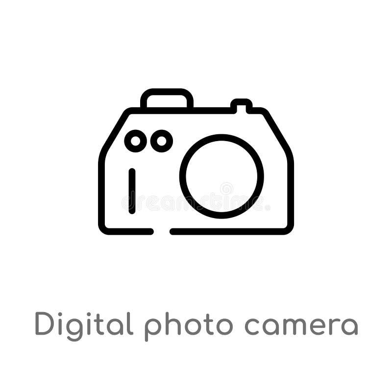 kontur fotografii kamery wektoru cyfrowa ikona odosobniona czarna prosta kreskowego elementu ilustracja od technologii pojęcia Ed ilustracja wektor