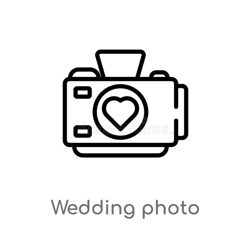 kontur fotografii wektoru ślubna ikona odosobniona czarna prosta kreskowego elementu ilustracja od przyjęcia urodzinowego i ślubu ilustracji