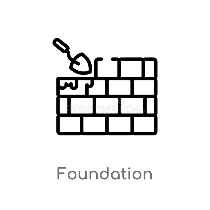 kontur fundacyjna wektorowa ikona odosobniona czarna prosta kreskowego elementu ilustracja od architektury i miasta poj?cia _ ilustracja wektor